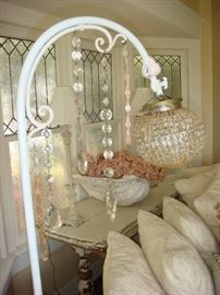 Antique Chrystal floor lamp $195 and Antique Table $550