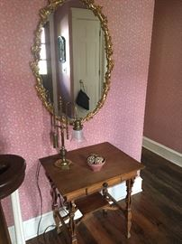 Antique table, lamp and decorative mirror