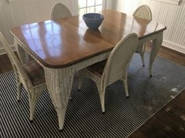 Heavy antique wicker dining table and chairs
