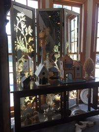 Glass room divider, bird houses