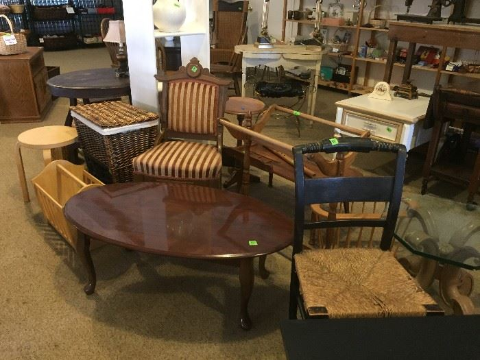 Coffee table, magazine rack, side tables, chairs, etc.