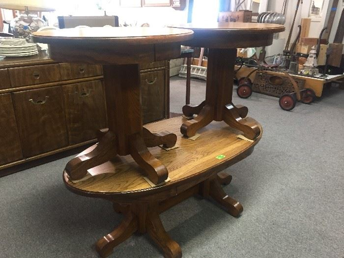 Oak coffee table and 2 side tables