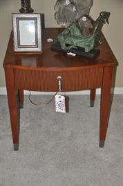 "Ethan Allen cherry end table with one drawer and silver trim.  25""W x 25""H x 27""D"
