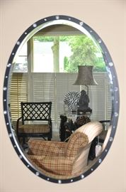 "Stunning black oval mirror with crystals surround! 27.5"" x 38"""