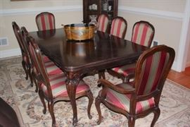 French Provincial Dining Table with Eight Chairs