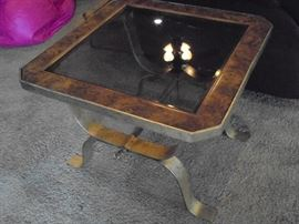 1 of 2 matching metal  beveled glass end tables