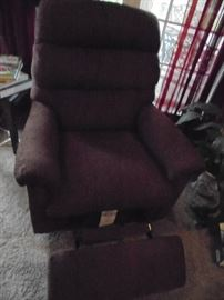 platform rocker/recliner burgandy