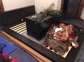 queen sized West Elm platform bed, nightstands