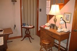 DESK, ANTIQUE STOOL, ANTIQUE MUSICAL LYRE TABLE (possibly made by Skatmore) , LAMPS