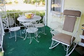 WROUGHT IRON PATIO SET, including TABLE AND 4 CHAIRS, ROCKING CHAIR, and SHELF (each sold separately)