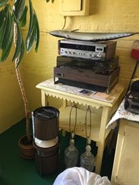 Vintage electronics and cute end table