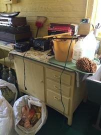 Vintage cabinet with enamel top