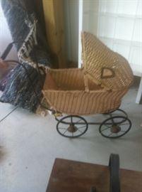antique wicker baby stroller