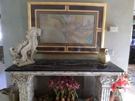 Entry Hall Table with Black Faux Marble Top  $ 295 , Tang Style Horse (sold) ,   floral decor