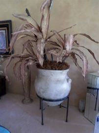 Gigantic pot in iron base with huge dried yucca  $ 145