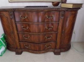 Solid Wood Buffet/Server  being used as bedroom dresser.  Top drawer has silverware compartment Made by Schnadig  $ 350