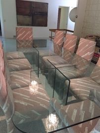 Glass Dining table - 10 feet long with 10 Parsons chairs