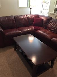 Leather Sectional - excellent condition and coffee table