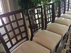 set of 10 dining chairs - Mahogany lattice back - 8 side and 2 arm