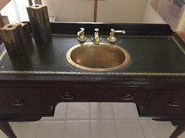 Bathroom vanity with brass sink, faucets - all hardward included