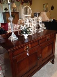 Antique buffet; decorative bird cages