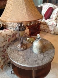 Marble top 2-tier side table; one of two matching lamps