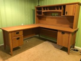 Keyboard L-Desk with Hutch File Drawer Plus Storage