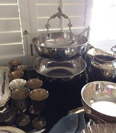 Silverplate buffet server, hand hammered bowls