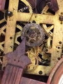 Antique clock in pieces
