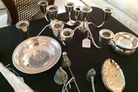 Sterling Candlestick tops, bowl silverplate