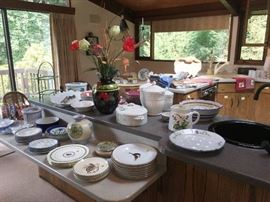 WIDE VARIETY OF HIGH END KITCHEN ITEMS, SERVING PIECES AND CHINA