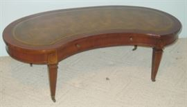 Mahogany Coffee Table w/Leather Inlay Top