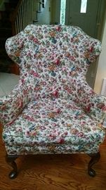 ***ANTIQUE ** FLORAL CURVED BACK SIDE CHAIR...WE HAVE A MATCHING SET!!