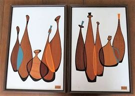Mid Century Robert Lyons Abstract Wood Cut Bottles Jugs Art Wall Hangings