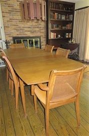 Mid Century Folding Dining Table with double leaves and 6 cane back chairs