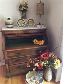 Walnut inlay roll-top desk with marble top, and more!