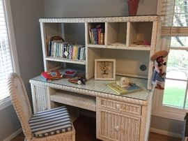 Wicker desk with hutch and chair