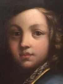 Child wearing blue, oil on solid surface