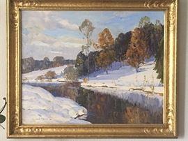 """Camillo Adriani (late 19th century - unknown dates), """"The Stream in Winter"""" - some damage"""