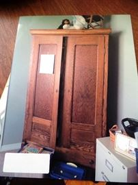 Armoire with beautiful wood markings and lots of storage
