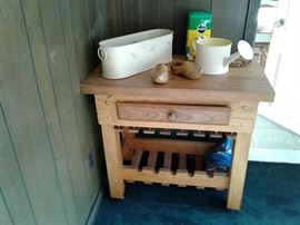 Butcher block with drawer and wine rack