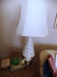 One of a pair white Cone lamps