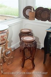 Carved plant stands with pink marble inset