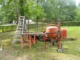 Extension ladder, cement mixer, trailer