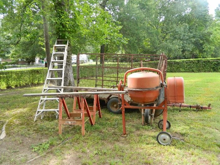Extension ladder, cement mixer, trailer