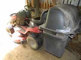 Riding lawn mower with attachments