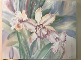 """Large floral oil on canvas by """"Deva"""""""