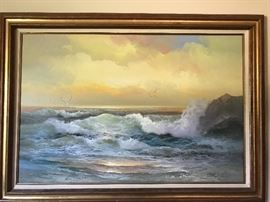 Gorgeous ocean scenic oil on canvas framed painting