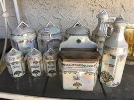 Antique German canister and condiment set