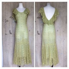 1930s yellow/green lace gown with low back